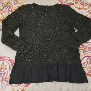 Like New! Alfani Grey w/ Aqua Sequin Sweater Sz M